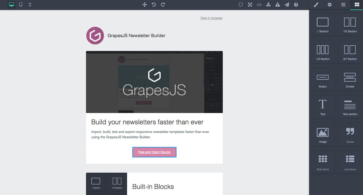 GrapesJS - Email template builder open source